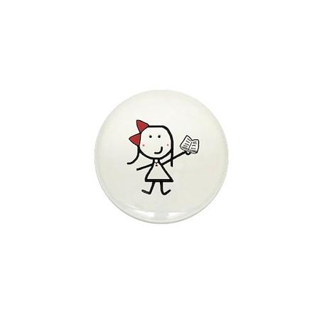 Girl & Book Mini Button (100 pack)