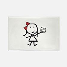 Girl & Book Rectangle Magnet