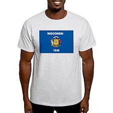 Wisconsin Flag Ash Grey T-Shirt