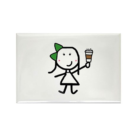 Girl & Coffee Rectangle Magnet