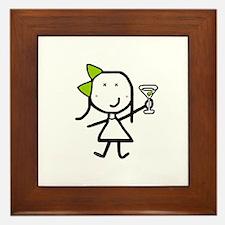 Girl & Martini Framed Tile