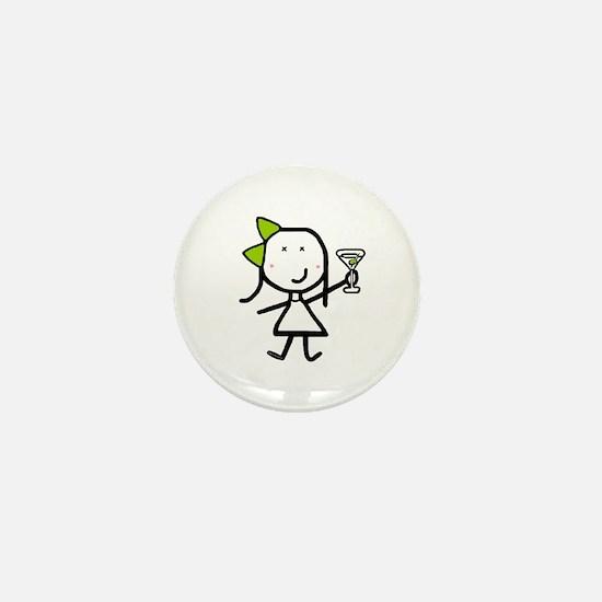 Girl & Martini Mini Button