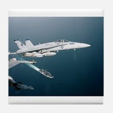F-18 Hornet Soars Over USS En Tile Coaster