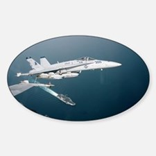 F-18 Hornet Soars Over USS En Oval Decal