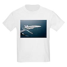 F-18 Hornet Soars Over USS En Kids T-Shirt