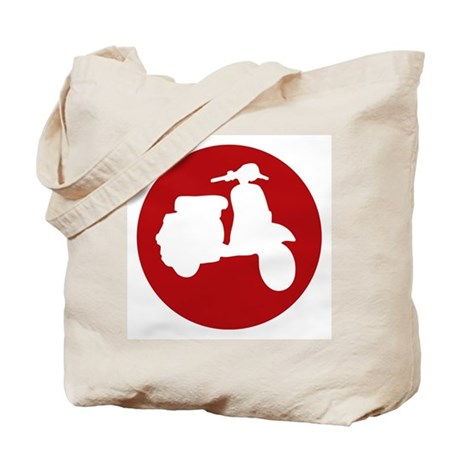 Retro Red Scooter Dot Tote Bag