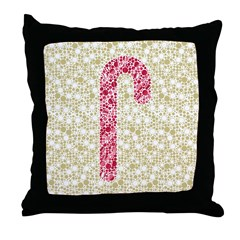 Candy Cane Polka Throw Pillow