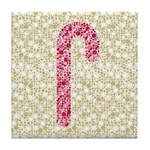 Candy Cane Polka Tile Drink Coaster
