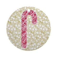 Candy Cane Polka Ornament (Round)