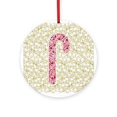Candy Cane Polka Ornament (Round)