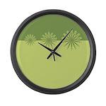 Modern Green Snowflakes Large Wall Clock