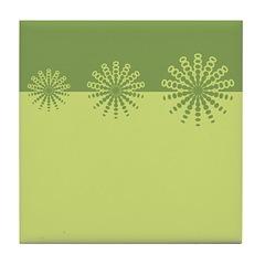 Modern Green Snowflakes Tile Drink Coaster