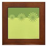Modern Green Snowflakes Framed Tile