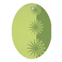 Modern Green Snowflakes Oval Ornament