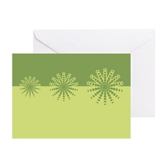 Modern Green Snowflakes Greeting Cards (Pk of 20)