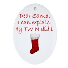 Dear Santa Oval Ornament