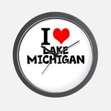 I Love Lake Michigan Wall Clock