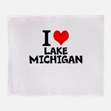 I Love Lake Michigan Throw Blanket