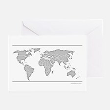 GEOGRAPHY/WORLD MAP Greeting Cards (Pk of 20)
