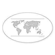 GEOGRAPHY/WORLD MAP Oval Decal