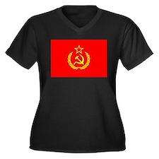 New USSR Flag Women's Plus Size V-Neck Dark T-Shir