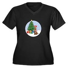 Kelpie Xmas Women's Plus Size V-Neck Dark T-Shirt