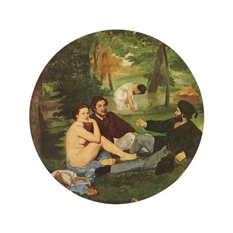 "Manet's The Luncheon on the Grass 3.5"" Button (100"