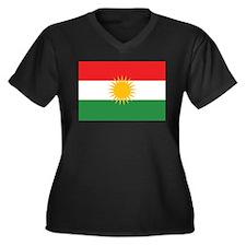 Kurdish Flag Women's Plus Size V-Neck Dark T-Shirt