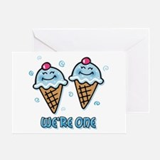 Ice Cream We're 1 Boys Greeting Card