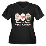 Peace Love Bull Market Women's Plus Size V-Neck Da