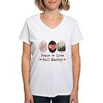 Peace Love Bull Market Women's V-Neck T-Shirt