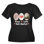 Peace Love Bull Market Women's Plus Size Scoop Nec