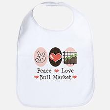 Peace Love Bull Market Bib