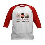 Peace Love Bull Market Kids Baseball Jersey
