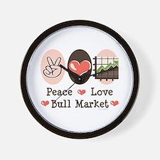 Peace Love Bull Market Wall Clock