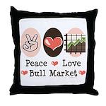 Peace Love Bull Market Throw Pillow