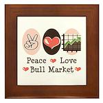 Peace Love Bull Market Framed Tile