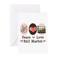Peace Love Bull Market Greeting Card