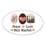 Peace Love Bull Market Oval Sticker (10 pk)