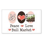 Peace Love Bull Market Rectangle Sticker