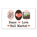 Peace Love Bull Market Rectangle Sticker 10 pk)