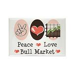Peace Love Bull Market Rectangle Magnet (10 pack)