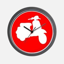 Retro Red Scooter Dot Wall Clock