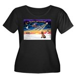 XmasSunrise/Bloodhound Women's Plus Size Scoop Nec