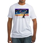 XmasSunrise/Gr Dane (blk) Fitted T-Shirt