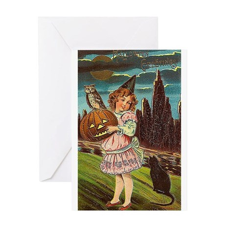 Girl & Jack O Lantern Greeting Card