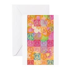 Retro Peace Flower Greeting Cards (Pk of 10)