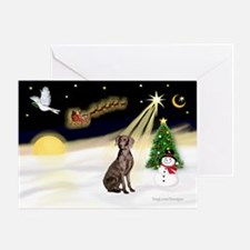 Night Flight/Weimaraner Greeting Card