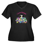 I Love Candy Penguin Women's Plus Size V-Neck Dark