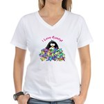 I Love Candy Penguin Women's V-Neck T-Shirt